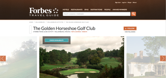 Forbes Travel Guide Golden Horsehoe Golf Club