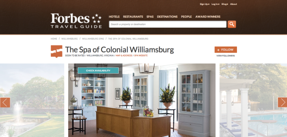 Forbes Travel Guide The Spa of Colonial Williamsburg