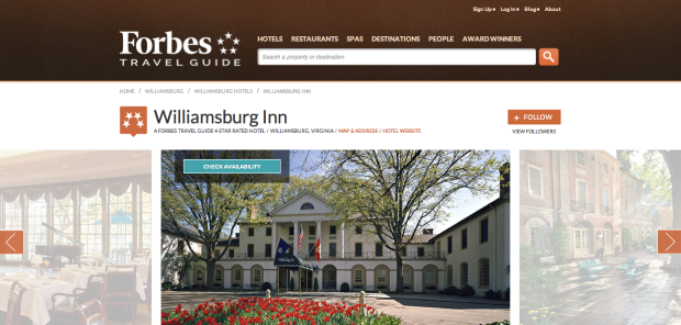 Forbes Travel Guide Williamsburg Inn